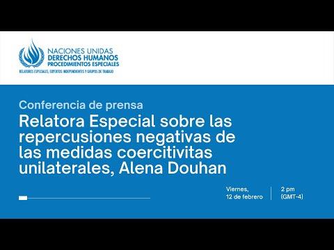 Conferencia de prensa de Relatora Especial de la ONU sobre medidas coercitivas unilaterales y DDHH